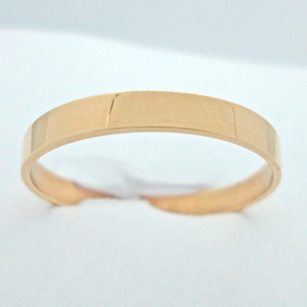 Kultainen kihlasormus 3 mm, flakkamalli