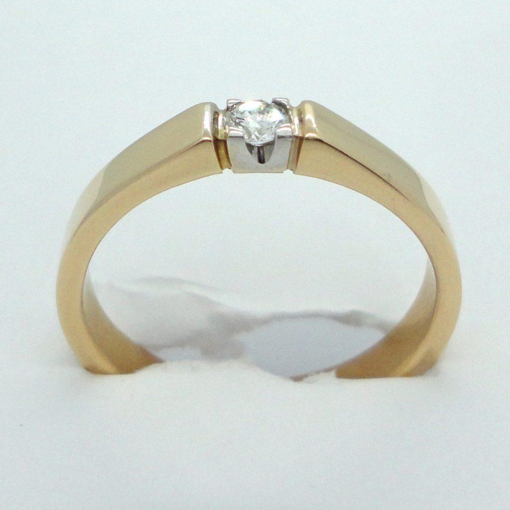 1-kivinen kultainen timanttisormus, 0.10 ct w/vs.
